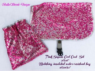 Pink sequin set with bag