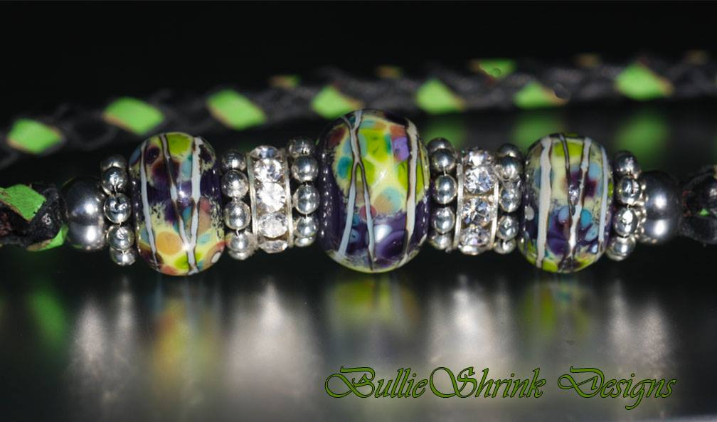 Lime and Black Lampwork