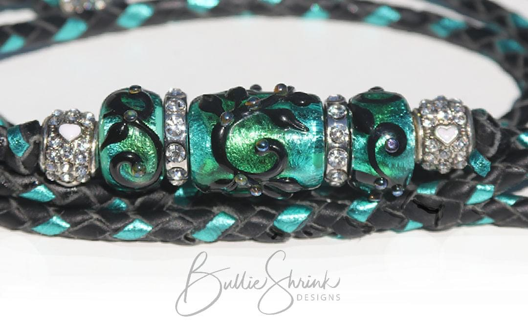 """Black Swirls on Green/Teal Dichroic Trio"""