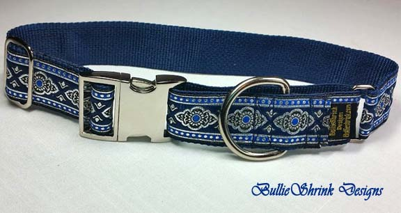 Blue Medallion Martingale Clasp Collar